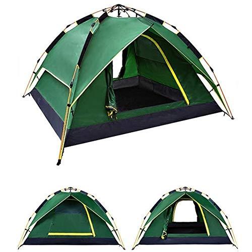 Générique Linabind Tente de Camping Double Couche imperméable pour 3-4 Personnes Bleu 200 x 200 x 135 cm, Vert Militaire
