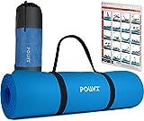 POWRX Colchoneta Fitness Antideslizante 183 x 60 cm - Esterilla Ideal para Yoga, Pilates y ginnasia - Extra Suave de 1 cm de Grosor - Ecológica con Cinta para Transporte y Funda + Poster (BLU Cielo)