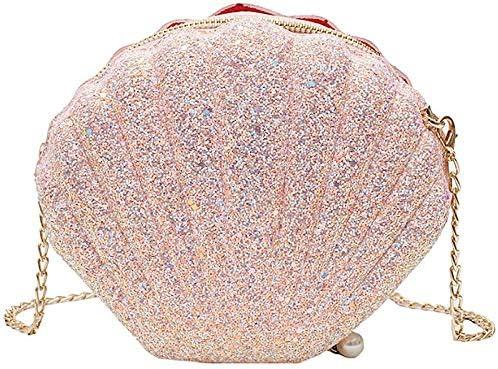 YeBetter Women Girls Little Mermaid Seashell Purse -Body Shoulder Bags Glitter Sequins Chain Evening Purse, Pink