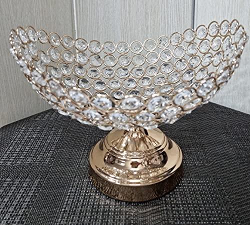 Cesta de frutas de hierro forjado con cuentas de cristal. candelabro Frutero Decorativo Centro de Mesa de Cuentas Imitación Cristal, Dorado Aluminio Fundido con simil Cristales de 25cm