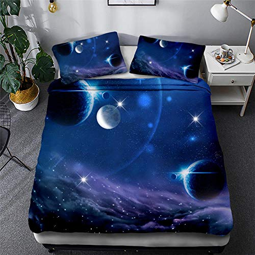 CURTAINSCSR Duvet Cover Double Size Starry Sky Blue Printed Polyester Bedding Set with Zipper Closure Quilt Cover Set+2 Pillowcases Easy Care Anti-Allergic Soft & Smooth Apply to Boy Girl Bedroom