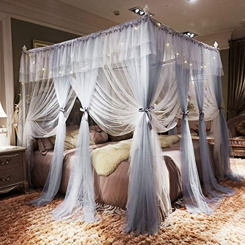 Read About TYX-SS European Romance Mosquito Bedding Net 3 Open Door Gradient Colour Floor Stand Prin...