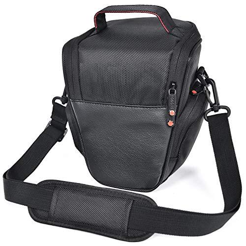 FOSOTO DSLR Camera Case Nylon Holster Bag Compatible for Nikon D3300 D3400 D3500 D5300 D5600 B700,Canon EOS Rebel XT XTi T6 T5i T3i SL2 1300D,Pentax,Sony Olympus and More - Black