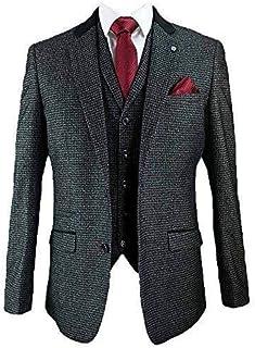 Cavani Mens 3 Piece Suits Blazers Trouser Waistcoats Party Suede Collar Jacket