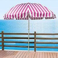 7.2フィートビーチ傘ポータブルラウンドパティオ傘屋外ガーデンストライプパラソル日よけ用日よけサン傘パティオ(ベースなし)