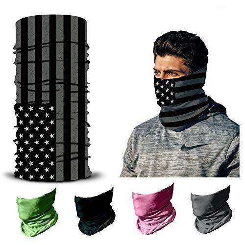 ARMORAY Face Mask Balaclava Neck Gaiter Reusable Washable Bandana Headwear Headband for Men & Women Hiking Cycling Fishing Masks (USA Flag B&W)