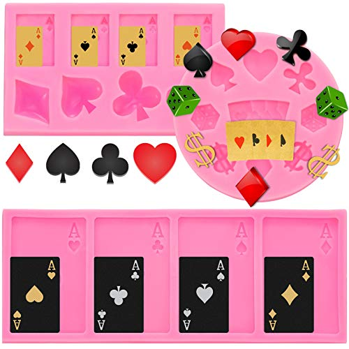 3 Pieces Casino Poker Card Silicone Molds Fun Candy Molds DIY Silicone Mold Tool for Las Vegas Party Decorations, Casino Theme Party Supplies, Casino Night, Casino Birthday Party