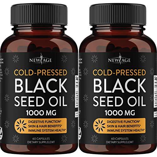 Black Seed Oil - 2 Pack - 120 Softgel Capsules (Non-GMO & Vegetarian) Premium Cold-Pressed Nigella Sativa Producing Pure Black Cumin Seed Oil by New Age