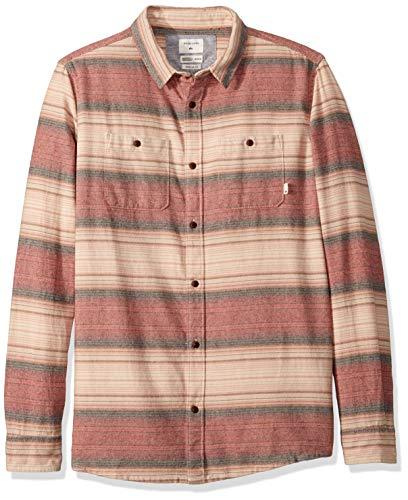 Quiksilver Herren INCA Gold Stripe Woven TOP Hemd, Granatrot gestreift, X-Groß