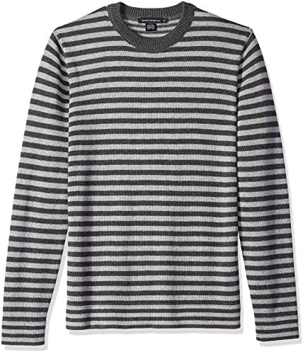 French Connection Men's Long Sleeve Stripe Crew Neck Sweater, Grey/Charcoal, L
