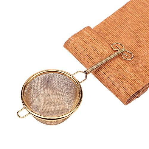 Filtro per tè in acciaio INOX, maglia fine long-handle infusore colino da tè infusore tè tè Matcha paletta per polvere sciolto foglia di tè di inclinazione Gold