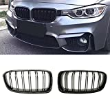PENSUN Gloss Black Front Grills Grille Kidney For BMW 3-Series F30 F35 2012-2016 (Gloss Black, Double Slat)