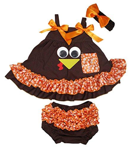 Petitebelle Turquie Marron Dot Orange Couvercle basculant bloomer Ensemble de pantalon pour bébé Nb-24 m - Marron - S