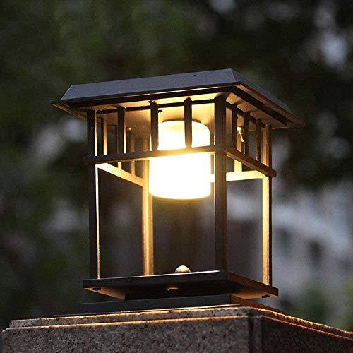 Clásico Acabado en Negro Cuadrado Columna Solar Poste de luz Linterna Jardín Moderno Iluminación de Paisaje Lámpara de Pilar Impermeable a Prueba de Lluvia al Aire Libre Lámpara de Mesa de césped