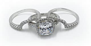 H&H 3.00 Carat Princess Cut NSCD Simulated Diamond Engagement Ring Set with 2 Bands in 18K Gold Over 925 Sterling Silver