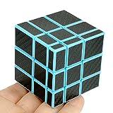 CuberSpeed Fangge Mirror Blue with Black Carbon Fiber Stickers 3x3 Magic Cube Mirror Blocks Blue Speed Cube