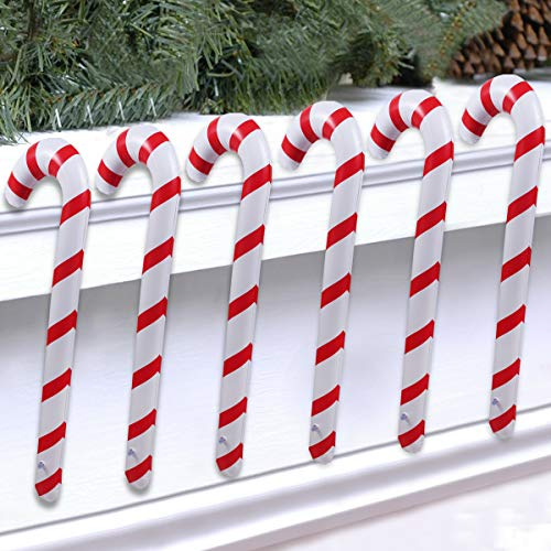 Inflatable Christmas Candy Cane for Christmas Decorations Set of 6, Outdoor Holiday Decorations by QIFU