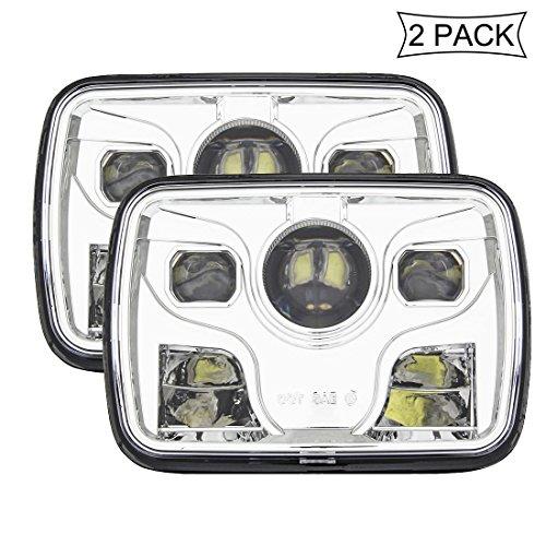 SKUNTUGUANG 5x7 Sealed Beam Rechteckige LED LKW Scheinwerfer für Wrangler Quadrat Licht, Chrom