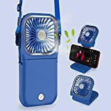 FEYON 5 IN 1 Mini Portable Fan, USB Rechargeable Halter Folding Fan 3 Speeds, Power Bank, Quiet Desk Fan with Cell Phone Stand, Indoor Outdoor Small Personal Fan (Blue)