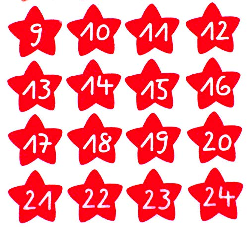 Bügelbilder-Set, 24 Motive je4,8x4,3cm, Motiv: Adventskalenderzahlen 1-24 zum bügeln, Farbe: rot, heißsiegelfähige Flockfolie auf Basis von Viskosefasern