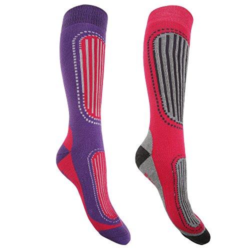 Floso FLOSO® Damen Ski-Socken, 2er-Pack (37-41 EU) (Fuchsia/Violett)