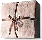 Luxury Faux Fur Oversized Throw Blanket with Plush Velvet Reverse, Fox Lynx or Gray Mink (Blush X-Long)