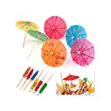 SHATCHI 72/144 Umbrellas Wedding Summer Party Food Drink Decorations Picks Sticks Cocktail Accessories & Cocktail, Assorted, Pack of 72