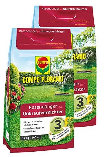 Compo FLORANID Rasendünger Plus Unkrautvernichter, 3 Monate Langzeitwirkung, Feingranulat, 2 x 12 kg, 800 m²