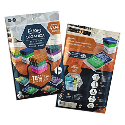 Conjunto Organizador a Vácuo 5 peças, Comprime, Protege e Organiza, VAC9966, Euro Home