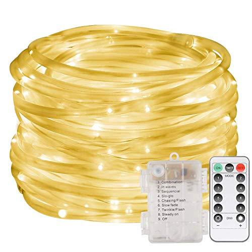 LED Lichterschlauch 10M 100 LED Licht mit 8 Modi Innen und Außenbereich Lauflichter für Saal, Garten, Weihnachten, Hochzeit, Party - Warmweiß Lichtschläuche (Warmweiß)