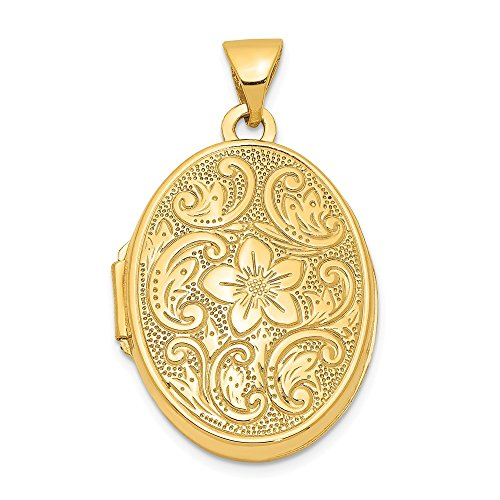 14k Yellow Gold Scrolled Floral Photo Pendant Charm Locket Chain Necklace That Holds Pictures Oval Fine Jewelry For Women Gifts For Her