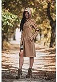 Ashante Moda Mujer Única Elegante Abrigo cálido Capucha clásica Manga larga Rodilla larga Beige