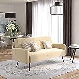 Novogratz 2360379N Z Stevie, Convertible Sofa Bed Couch, Ivory Velvet Futon