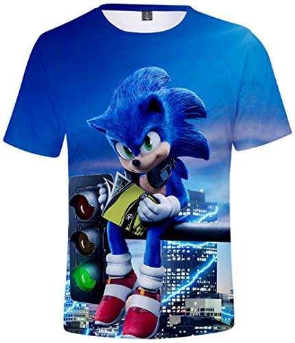 Silver Basic Camiseta Deportiva para Niños 3D Inspirada en la Popular Película y Videojuego Sonic The Hedgehog Summer T-Shirt Sonic Cosplay tee Top M, 750Sonic&Lights-3