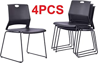 Dining Chairs Set of 4, Black Stackable Kitchen Chairs.