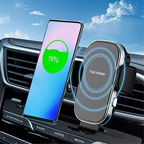 Soporte de teléfono móvil para coche por inducción Qi, 15 W, inalámbrico, función de carga con cargador, ventilación y ventosa, cargador rápido inalámbrico para iPhone, Samsung, Huawei, LG, etc.