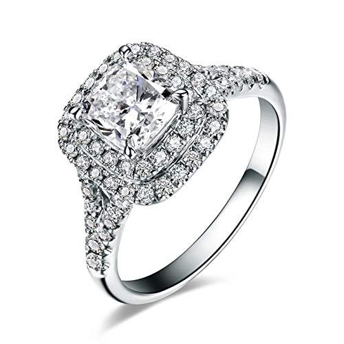 Gnzoe Donne Anello di Fidanzamento in Oro Bianco 18k Diamante Quadrato 0.7ct Taglia 26