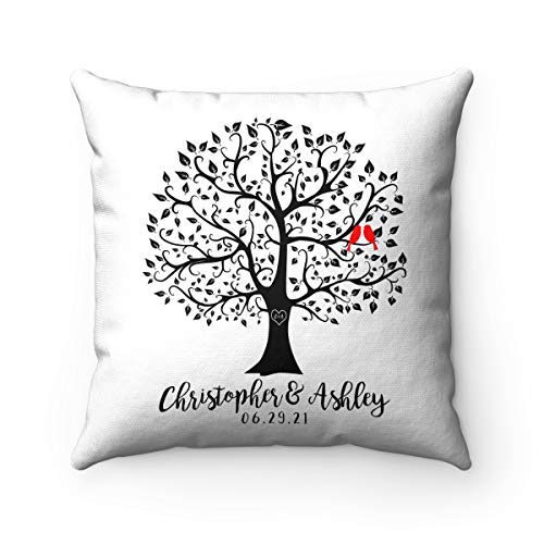 Personalized Wedding Gift, Custom Pillow, Family Tree Pillow, Love Birds, Name Pillow, Personalized Gift for New Couple Decorative Pillows, Ultra Soft Throw Pillows