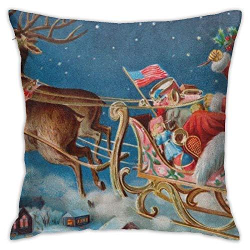AEMAPE Funda de Almohada Cuadrada, Papá Noel navideño, Funda de cojín de Tiro, Funda de Almohada para sofá de Coche, Sala de Estar, decoración del hogar