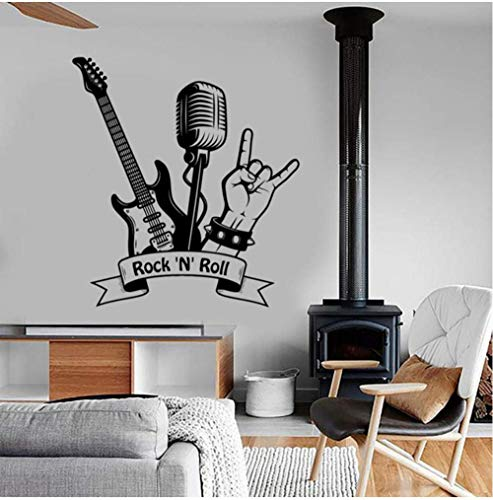 "Wandaufkleber Rock\""N\"" Roll Wandtattoo Musik Rock Gitarre Mikrofon Bar Musikzimmer Innendekoration Vinyl Wandaufkleber Wandbild Kunst Cool 57X62Cm"
