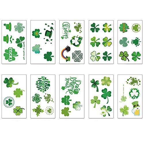 St. Patrick's Day Tattoos 60pcs Temporary Shamrock Tattoos 10 Set for St. Paddy's day Irish Tattoo Sticker Clover Tattoos Parade Party Favors Decorations