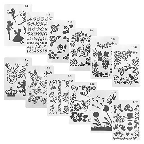 DESON Plantillas de Dibujo y de Letras, 12 Figuras Troqueles para Álbumes de Recortes, Mariposa, Letras, Flores, Animales, para Dibujo Infantil, Álbumes de Fotos