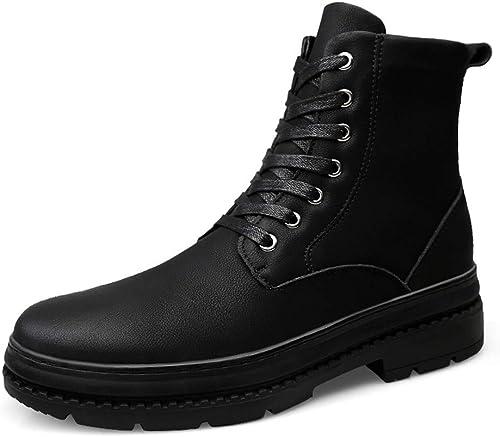 BND-chaussures , Bottines Mode Mode Mode pour Hommes Bottes décontractées imperméables Haut-Haut décontractées (Warm Velvet en Option) Durable; Supporter l'usure (Couleur   Matte noir, Taille   40 EU) 533