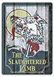 Retro Metal Tin Sign Vintage The Slaughtered Lamb Wolf Aluminum Sign for Home Coffee Wall Decor 8x12 Inch