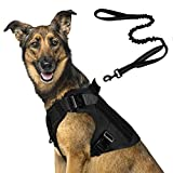 """rabbitgoo Tactical Dog Harness and Bungee Dog Leash Set for Large Medium Dogs, Molle Vest for Service & Training Military Dogs Adjustable Training Hunting Dog Tactical Vest, Black, L,Chest(31.5-41.3"""")"""