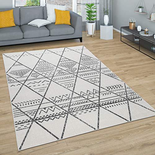 Paco Home Tapis Salon Tapis Poils Ras avec Motif Diamant Scandinave Boho Moderne Abstrait, Dimension:120x170 cm, Couleur:Nature 3