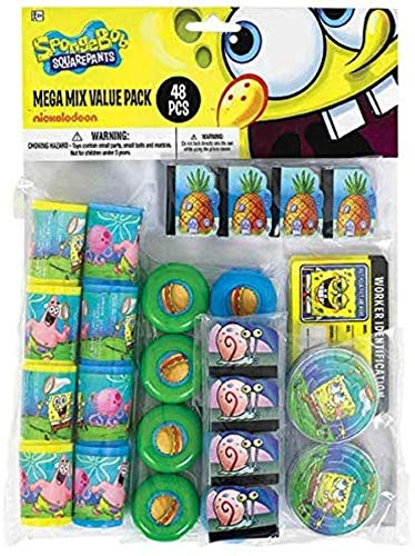 amscan Mega Mix Party Favor | SpongeBob Collection | Party Accessory,Multi Color,Assorted Sizes
