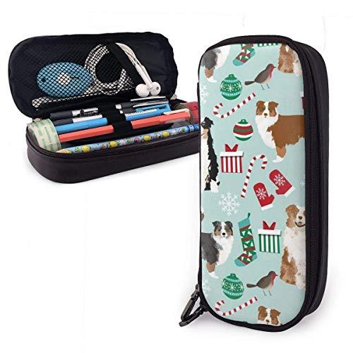 AOOEDM Cuero impermeable Pastor australiano Navidad Perros australianos lindos Estuche para lápices Estuche para bolígrafos Estuche para maquillaje Estuche para cosméticos Organizador de almacenamie