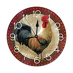 FeHuew Vintage Rooster Cock Decorative Round Wall Clock 9.5 Inch Non Ticking Battery Operated for Student Office School Home Decor Silent Desk Clock Art