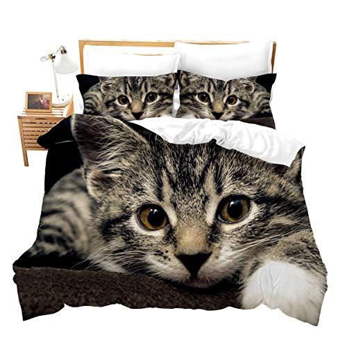 feelyou Katzen-Bettwäsche-Set, Queen-Size-Größe, für Damen, mit 3D-Tiermuster, Bettbezug-Set mit 2 Kissenbezügen, Mikrofaser, Kinder-Tagesdecke, Reißverschluss, 3-teilig